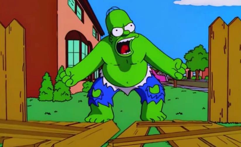 Homer Simpson nella sua versione Hulk