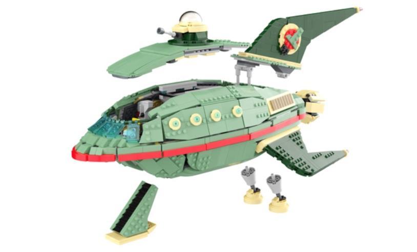 Le parti rimovibili e gli interni della navicella Planet Express di Lego