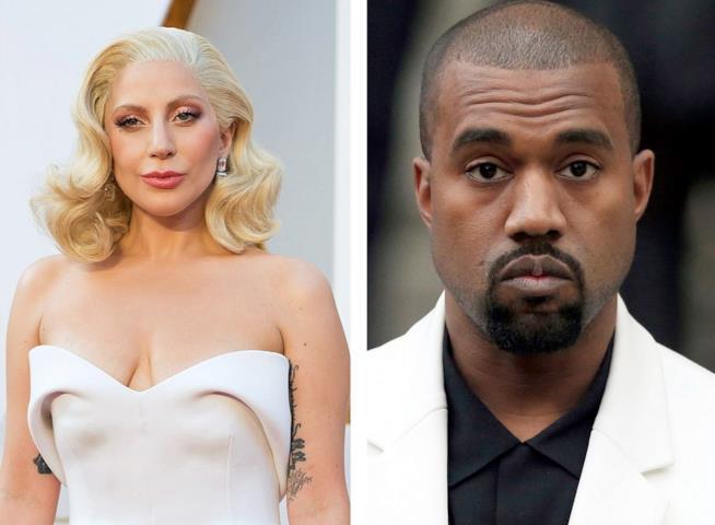 Primo piano di Kanye West e Lady Gaga