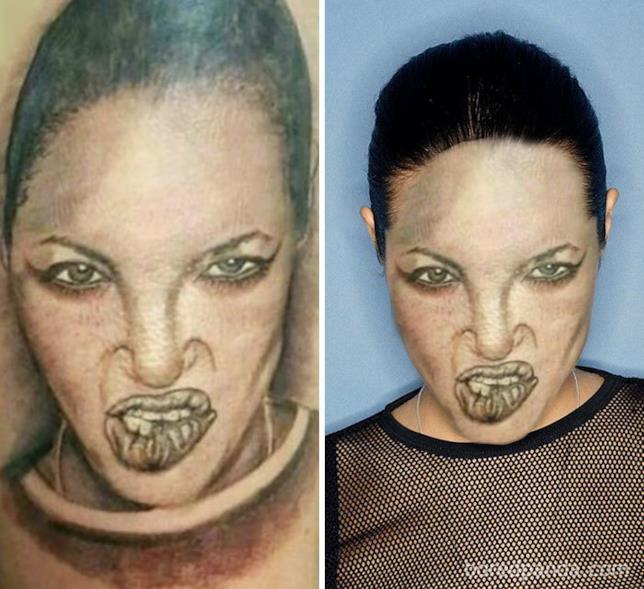 Face-swape su tatuaggi eseguiti male: il volto di Angelina Jolie