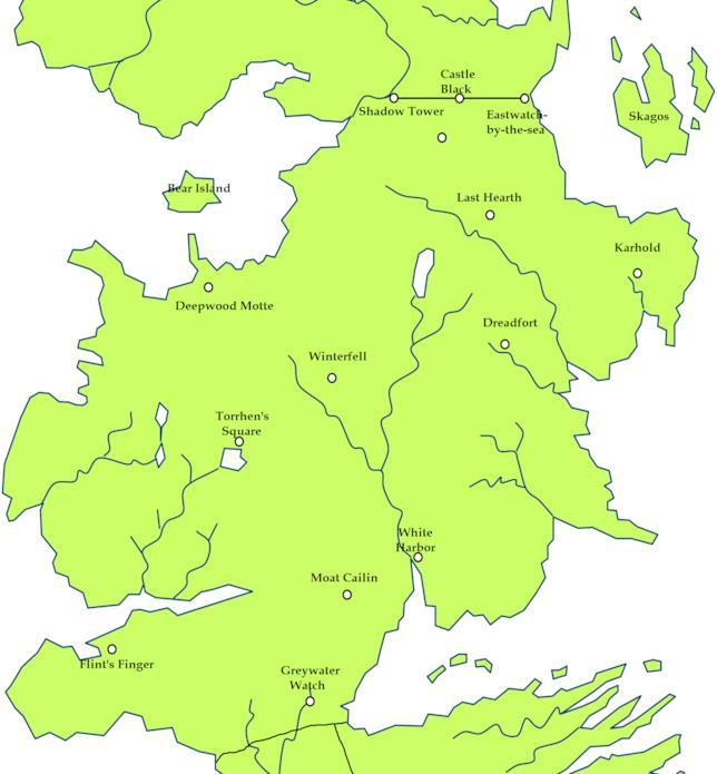 Mappa del Nord di Westeros realizzata dai fan