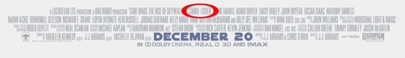 I credit nel poster americano di Star Wars: L'Ascesa di Skywalker, cerchiato in rosso c'è il nome dell'attrice Carrie Fisher