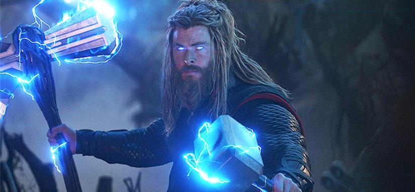 Un primo piano di Chris Hemsworth nei panni di Thor in Avengers: Endgame
