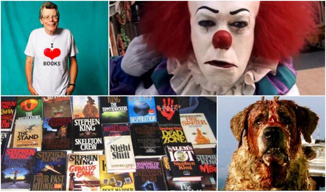 Un collage con Stephen King, Pennywise, Cujo e romanzi di King
