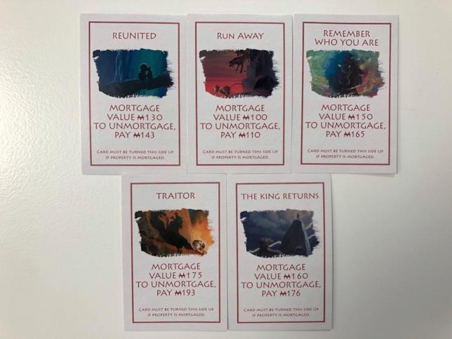 Le carte contengono le citazioni del film Disney