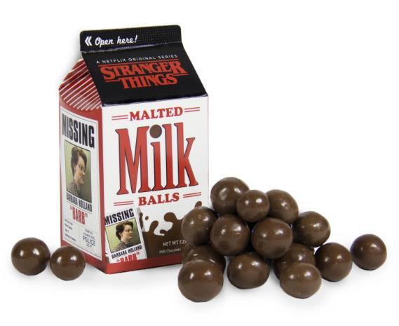 Le palline di cioccolato al latte di Stranger Things contenute in una finta busta di latte. Questa riporta il messaggio che Barb è sparita