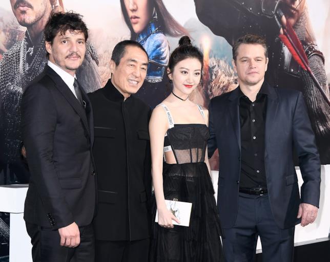 Pedro Pascal, il regista Zhang Yimou, Jing Tian e Matt Damon