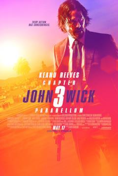 Poster internazionale di John Wick 3 con John in difficoltà