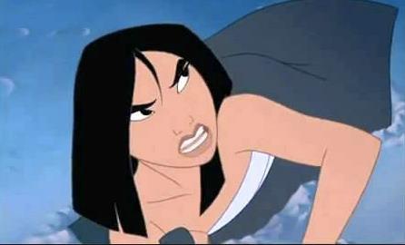 Mulan arrabbiata in una scena del cartone animato