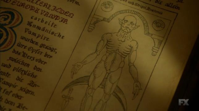 Un vampiro illustrato sull'antico libro Occido Lumen