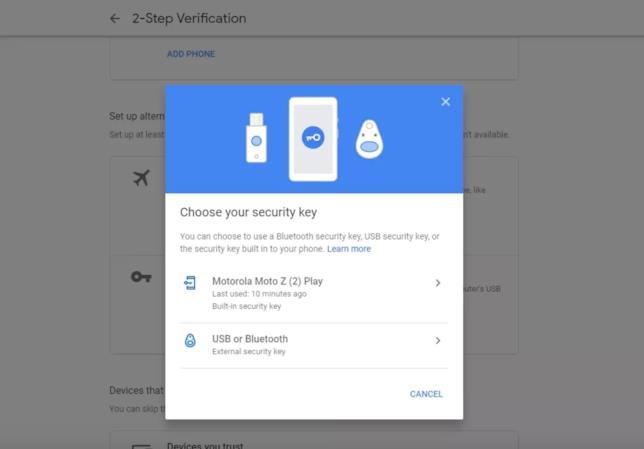 Lista dei dispositivi utilizzabili come chiavi di sicurezza per i servizi Google