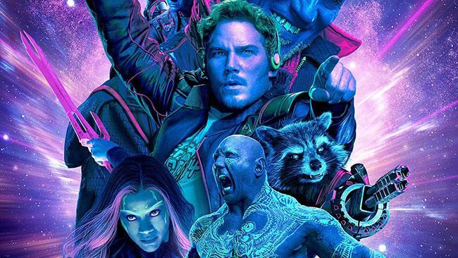 Star-Lord, Gamora, Rocket e Drax in Guardiani della Galassia 2