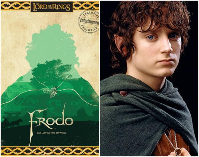 L'etichetta del vino di Frodo con Frodo