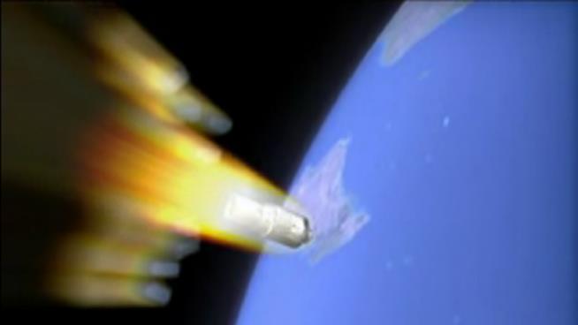 Una rappresentazione Tiangong-1 prima dell'impatto con l'atmosfera terrestre (CMSE)