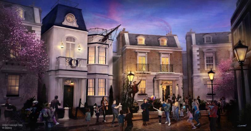 Concept art dell'attrazione Mary Poppins al Parco Disney di Epcot