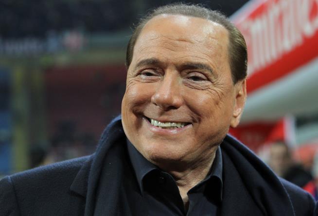 Silvio Berlusconi a una partita del Milan