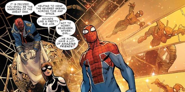 Illustrazione di Spider-UK in una pagina dei Marvel Comics