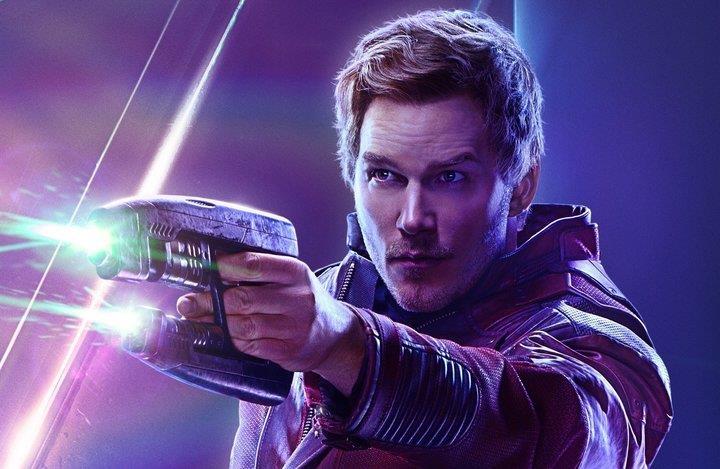 Un primo piano di Chris Pratt come Star-Lord nel poster di Avengers: Infinity War