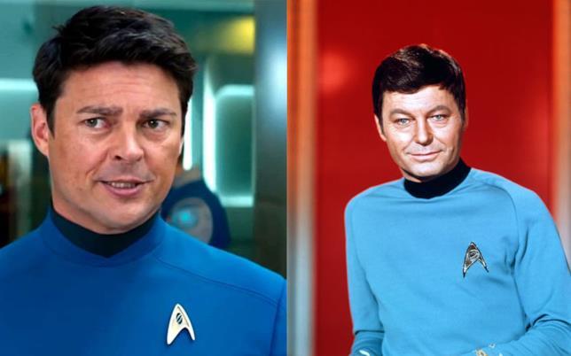 Karl Urban e DeForest Kelley in Star Trek