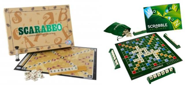 Le confezioni di Scarabeo e Scrabble