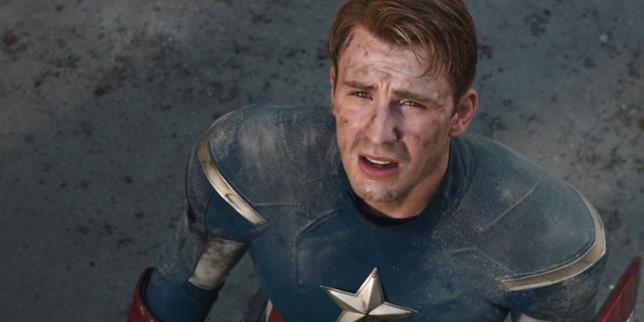Chris Evans sporco nei panni di Capitan America