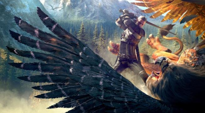 Geralt combatte con un grifone in The Witcher 3