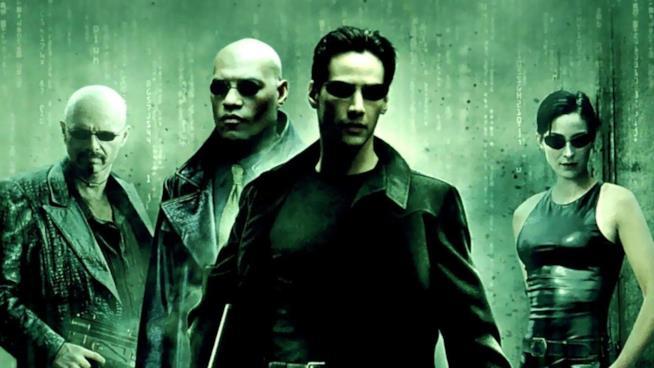 L'attore Keanu Reeves in Matrix