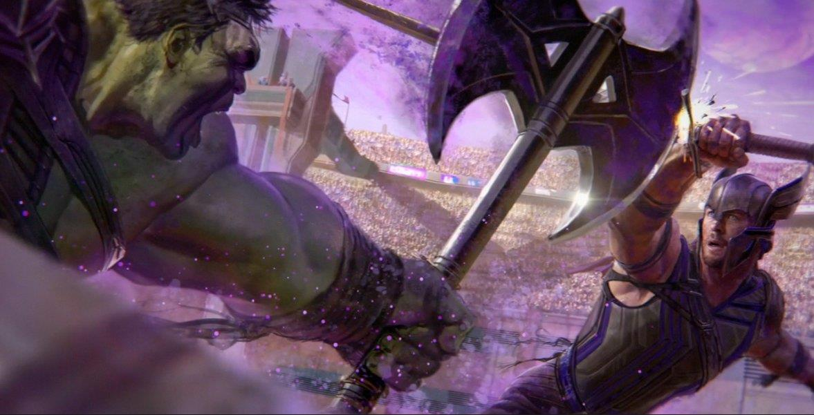 Hulk contro Thor nei disegni di Thor: Ragnarok