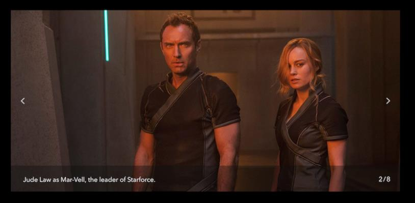 Jude Law e Brie Larson in una scena del film Captain Marvel