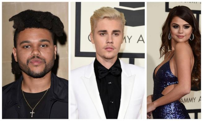 Primo piano di Justin Bieber, Selena Gomez e The Weeknd