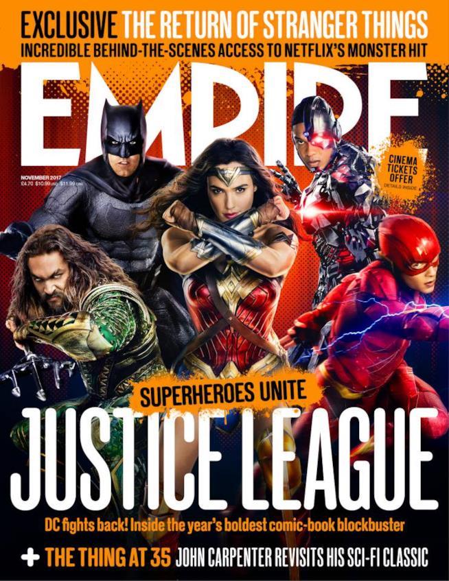 In foto Aquaman, Batman, Wonder Woman, Cyborg e Flash