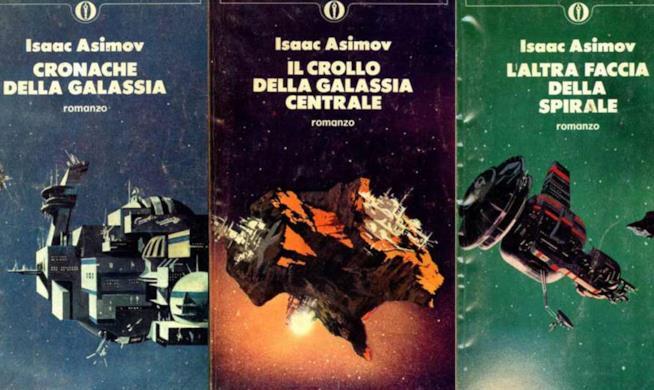 Le copertine della trilogia di Fondazione, in versione Osacr Mondadori negli anni '70