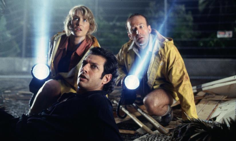 Una scena di Jurassic Park, il film di Spielberg