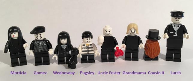 8 Minifigure di LEGO della famiglia Addams