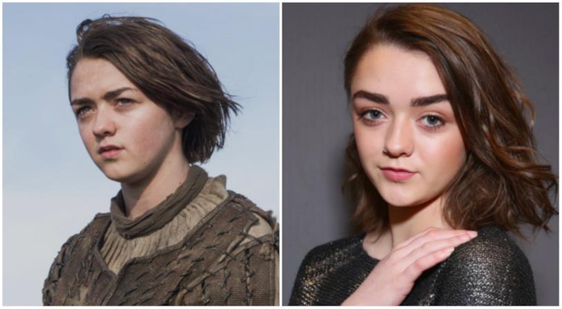 Collage tra Arya Stark e Maisie Williams