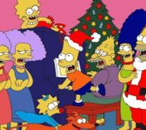 I membri della famiglia Simpson cantano appassionatamente canzoni di Natale