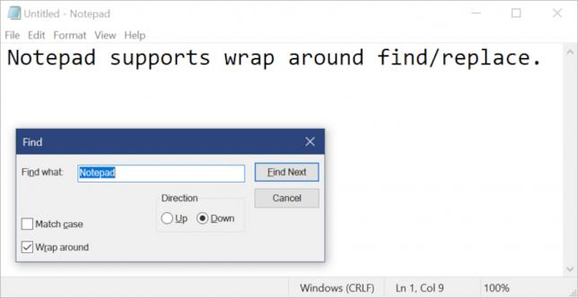 Blocco Note: come funziona Wrap-around find/replace