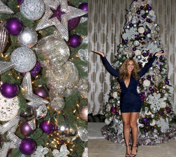 L'albero di Natale viola e argento di Beyoncé