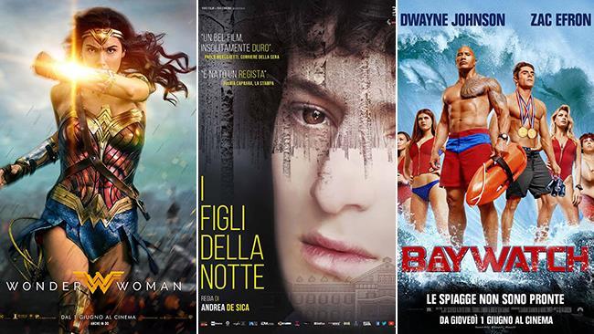 Le locandine dei film Wonder Woman, I Figli della Notte e Baywatch