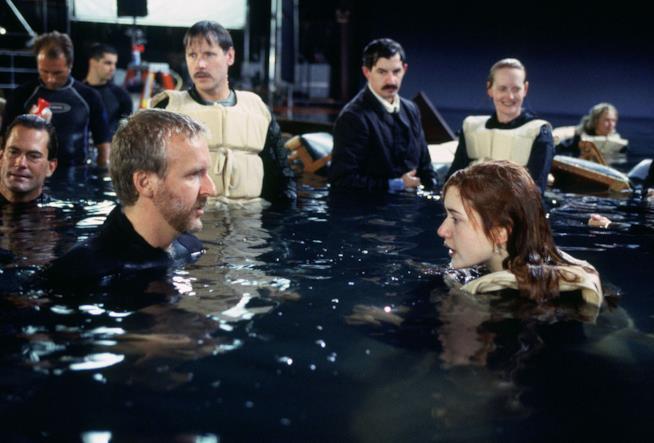 James Cameron e Kate Winslet sul set tdi Titanic