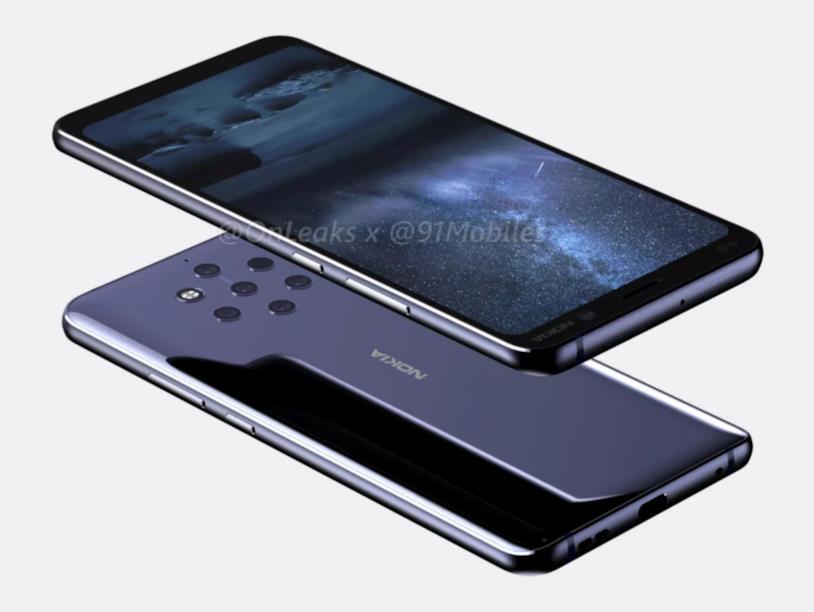Un render mostra in anteprima il Nokia 9 con cinque fotocamere