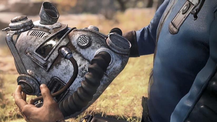 Immagine simbolo di Fallout 76, con il protagonista armato della sua armatura atomica