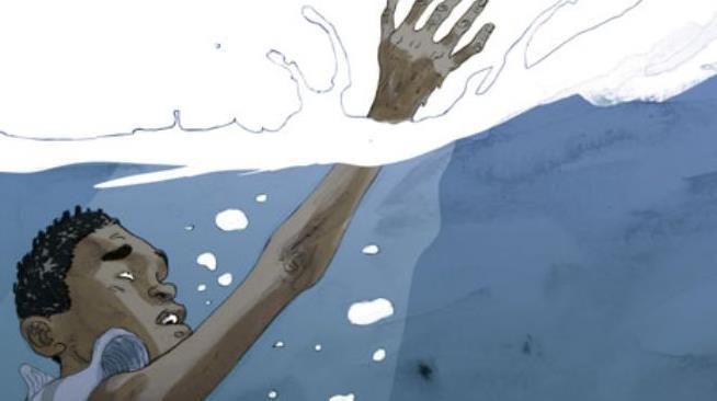La copertina del reportage a fumetti Salvezza