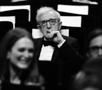 Foto in bianco e nero del regista Woody Allen
