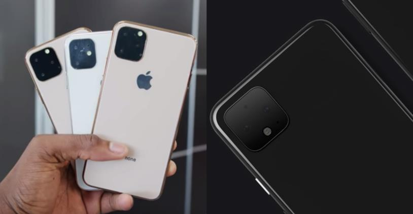 Dummy di iPhone XI (sinistra) e Google Pixel 4 (destra)