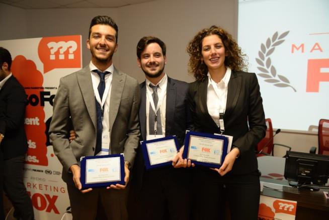I tre vincitori del Premio Marketing per l'Università, patrocinato da FOX