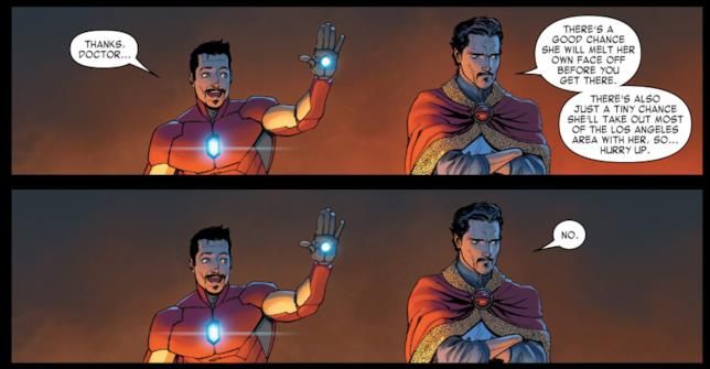 Una striscia ispirata a Doctor Strange e Iron Man