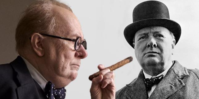 Il Churchill di finzione accanto a quello vero