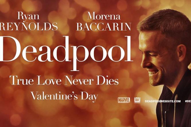Il poster del film di Deadpool in versione romantica
