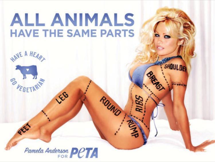 Pamela Anderson nuda per ETA per sostenere lo stile di vita vegetariano